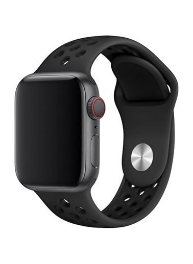 Jacobson Melefoni Apple Watch 38-40 mm Spor Delikli Kordon Silikon Kayış Siyah Siyah